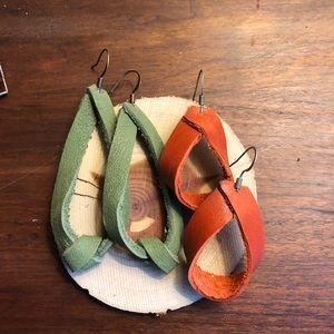 2pair Leather Loop Earrings. Handmade in NC.